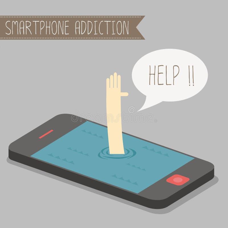 Smartphone-verslaving vector illustratie