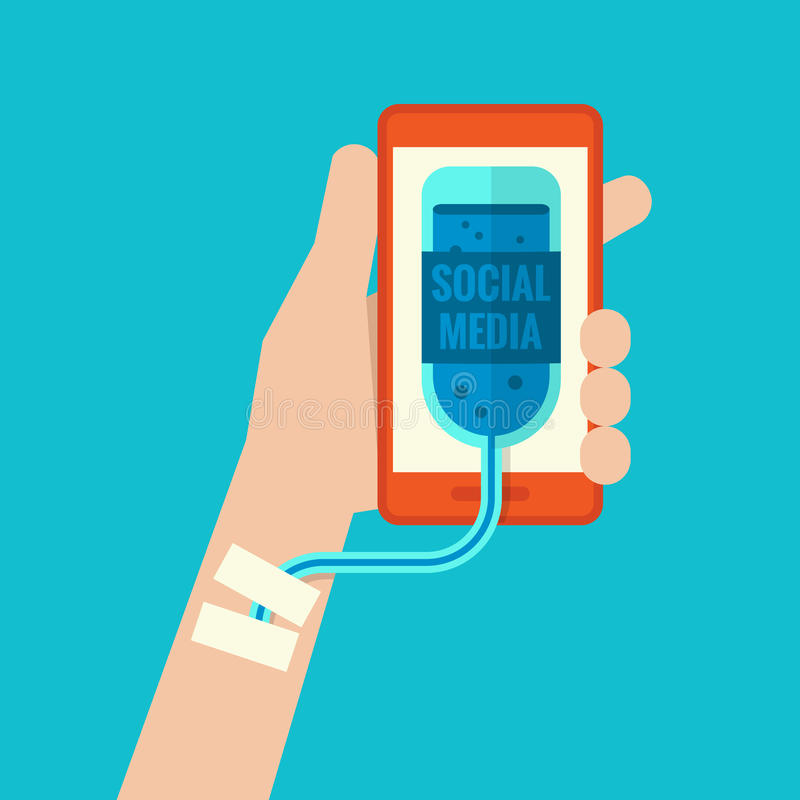 Smartphone-Verslaving royalty-vrije illustratie