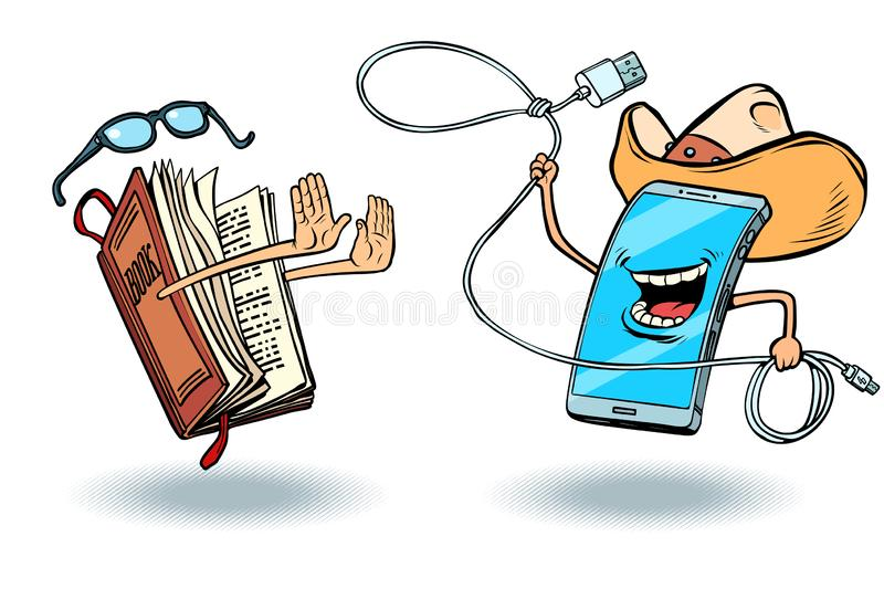 Smartphone versus books. Literature and love of reading and modern technology. Cowboy gadget throws a lasso. Comic cartoon pop art vector retro vintage drawing stock illustration