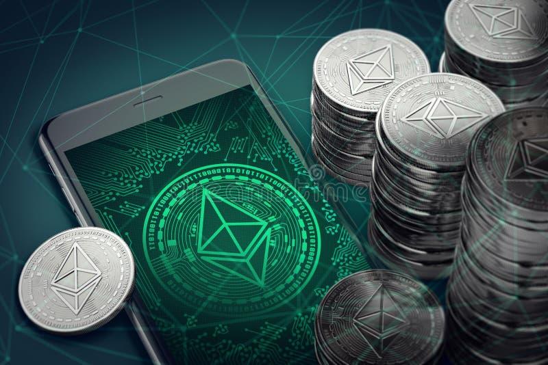 Smartphone vertical avec le symbole d'Ethereum à l'écran parmi des piles d'éther Concept de technologie de blockchain d'Ethereum illustration de vecteur