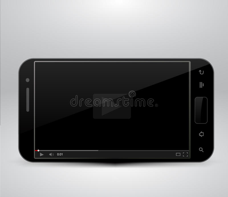 Smartphone with video player royalty free illustration