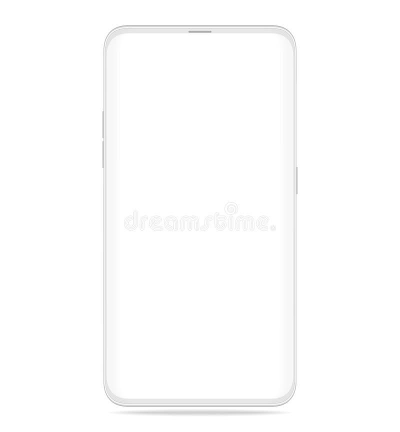 Smartphone vitt realistiskt med isolerat på vit bakgrund vektor illustrationer