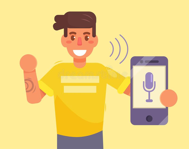 Smartphone. Voice control. Command. Vector Cartoon Isolated art Flat stock illustration