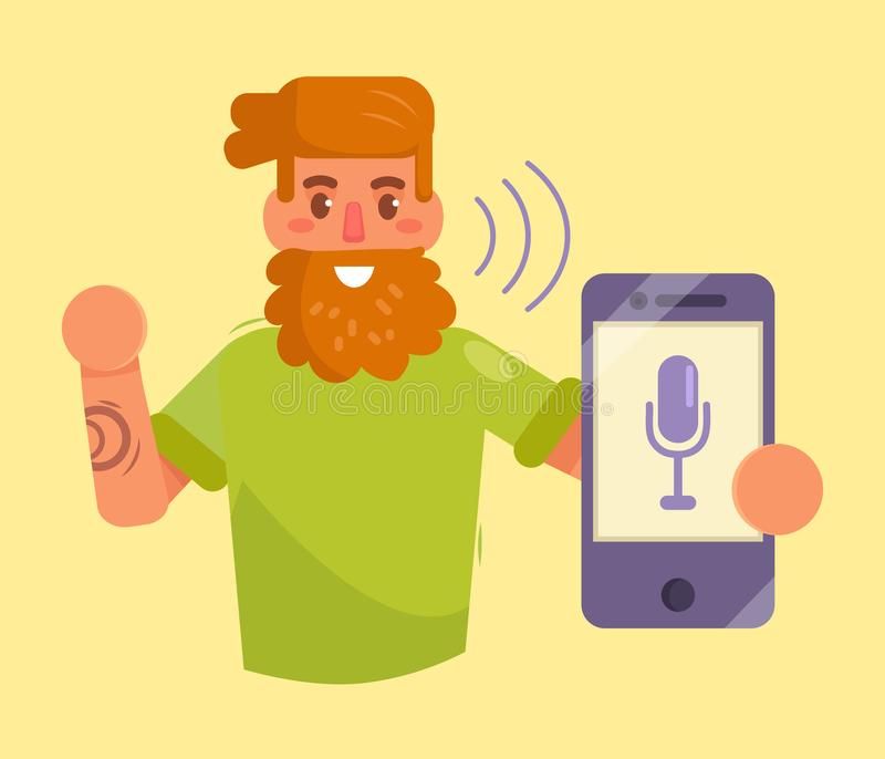 Smartphone. Voice control. Command. Vector Cartoon Isolated art Flat vector illustration