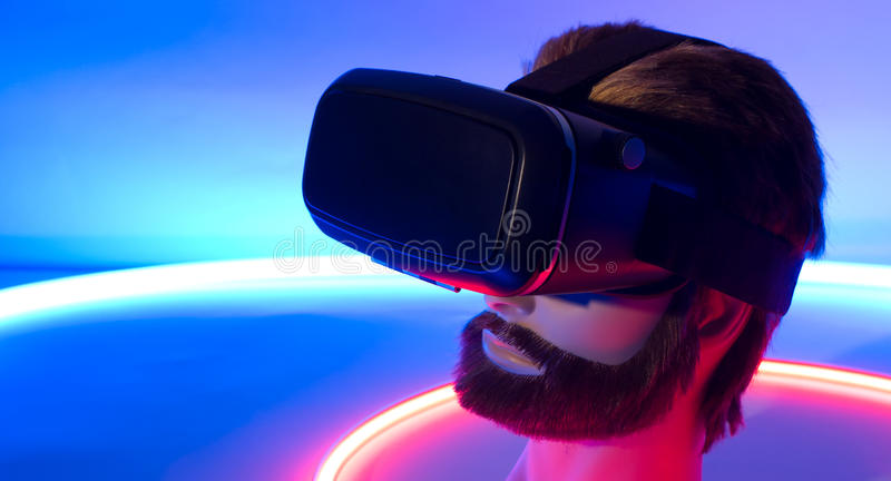 Smartphone vr 360 3D virtual reality goggles. VR virtual reality 3D 360 glasses stock image