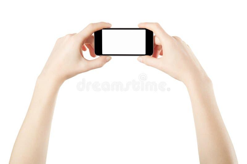 Smartphone in vrouwelijke handen die foto nemen royalty-vrije stock afbeelding
