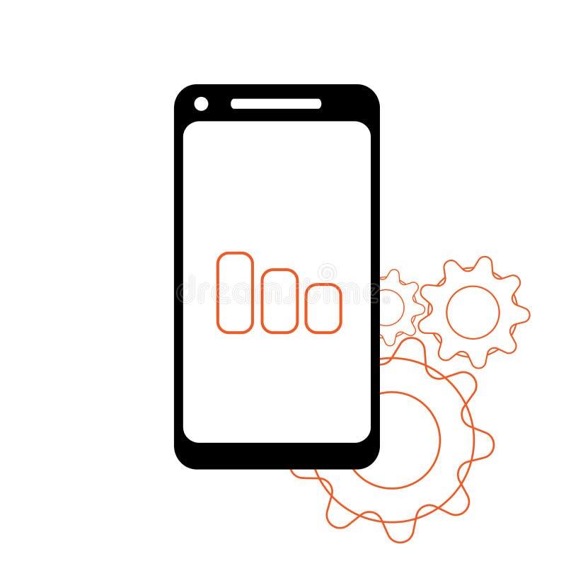 Smartphone w iphone stylu czerni kolorze z pustym dotyka ekranem odizolowywającym na białym tle projekta ilustraci zapasu use wek royalty ilustracja