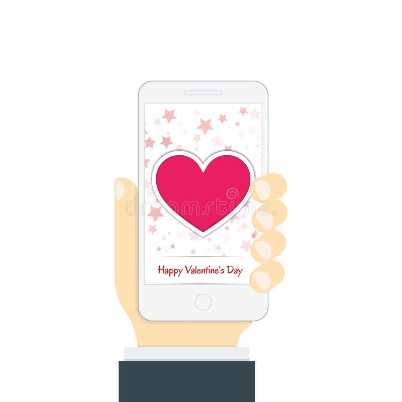 Smartphone w ręce w płaskim stylu Na telefonu ekranie royalty ilustracja