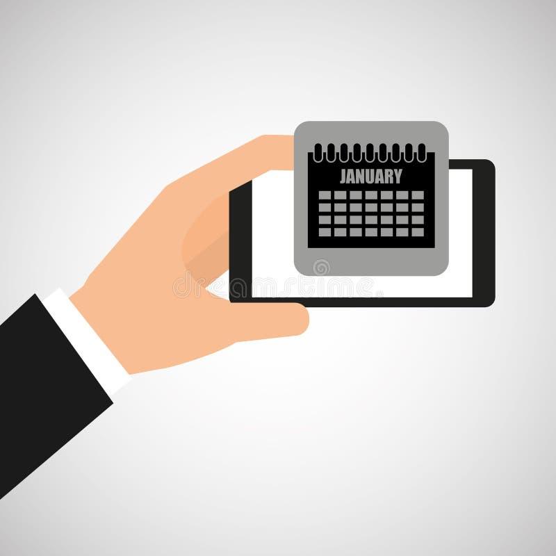 Smartphone w ręce z kalendarzowym planem ilustracji