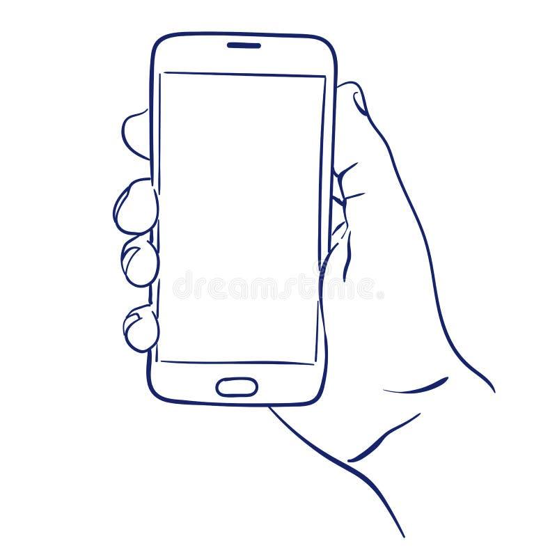 Smartphone w ręki use ilustracji