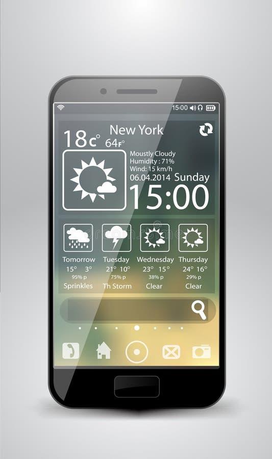 Smartphone weather widgets vector illustration