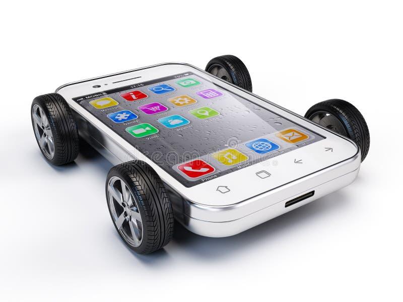 Smartphone on wheels. 3d render vector illustration