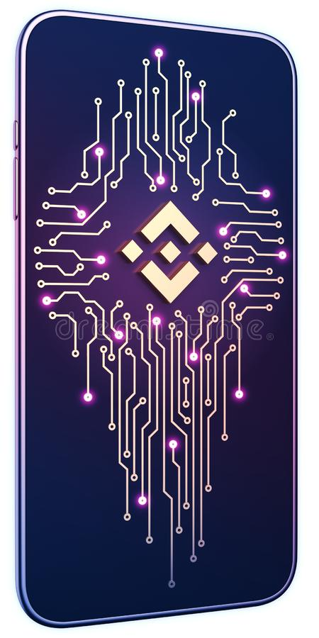 Smartphone white isolated background neon glow. Golden Binance symbol and circuit board on screen. The concept of mobile mining royalty free illustration