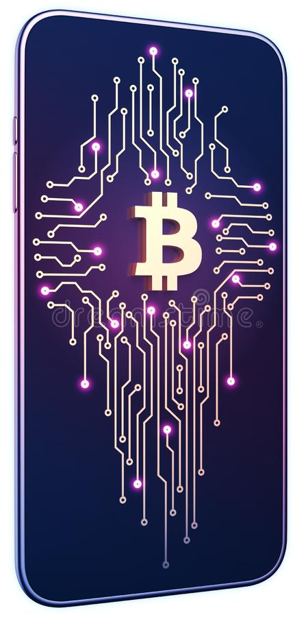 Smartphone white isolated background neon glow. Golden bitcoin symbol and circuit board on screen. The concept of mobile mining royalty free illustration