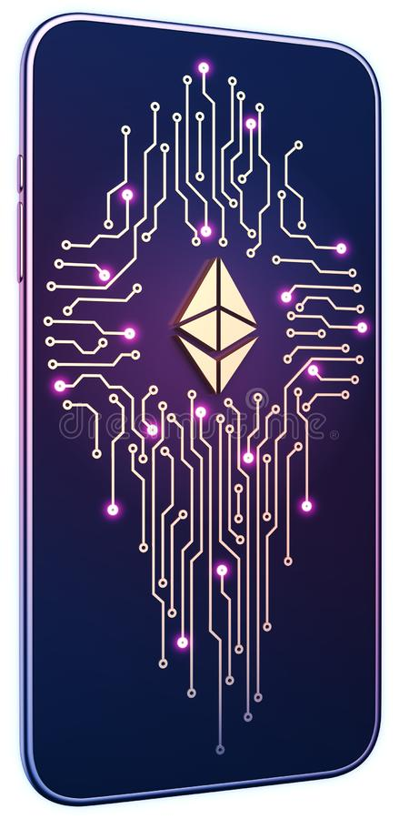 Smartphone white isolated background neon glow. Golden Ethereum symbol and circuit board on screen. The concept of mobile mining stock illustration