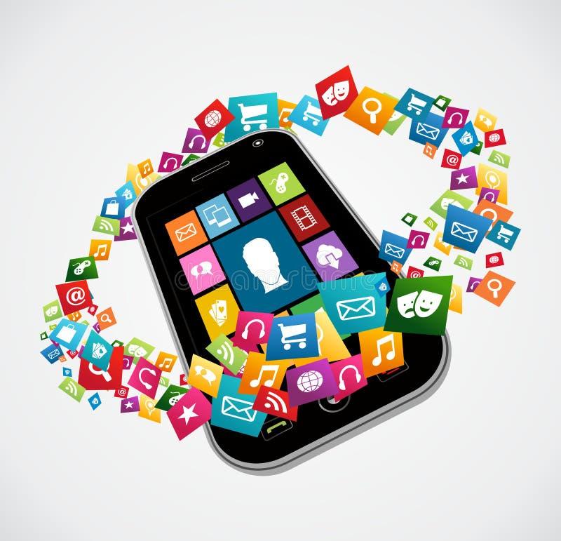 Smartphone wiszącej ozdoby zastosowania ilustracji
