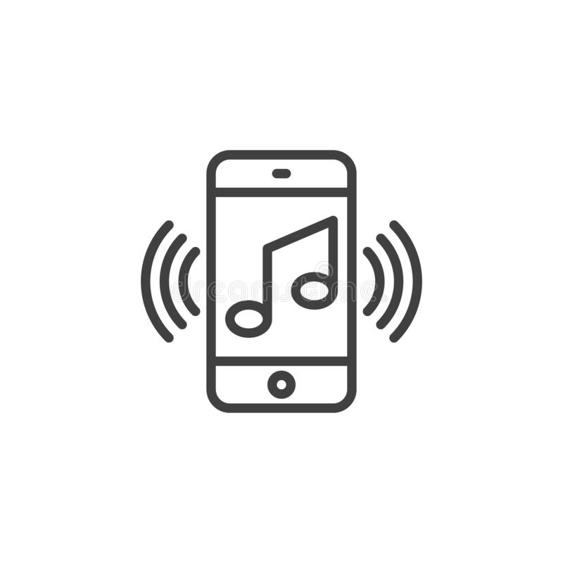 Free Smartphone With Music Note Line Icon Royalty Free Stock Photo - 174011205