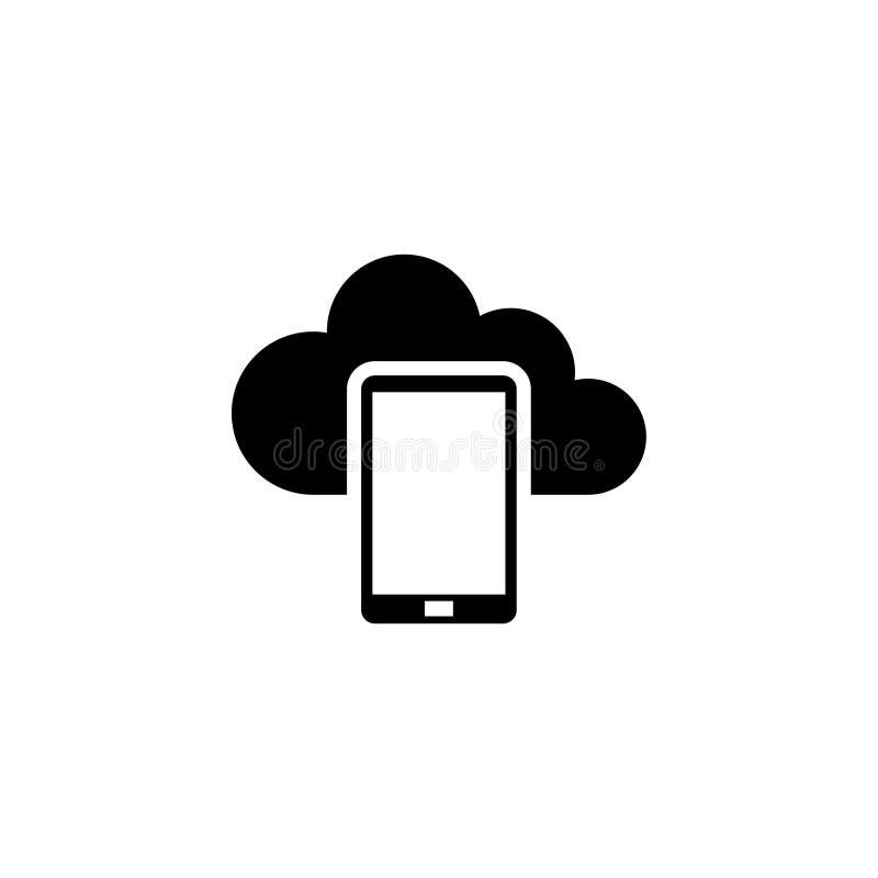 Smartphone-Wolk die, Gegevens Reserve Vlak Vectorpictogram gegevens verwerken vector illustratie
