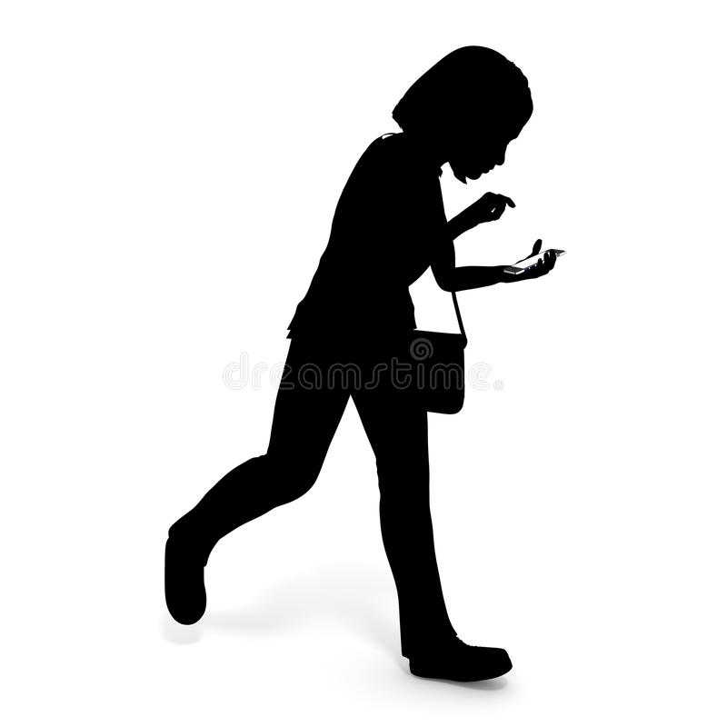 Smartphone / woman while walking. Mobile phone use while walking. Around is dangerous invisible. I will concentrate on the screen. There is a risk of an accident stock illustration