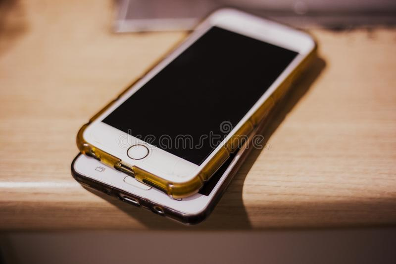 Smartphone on the wood stock image