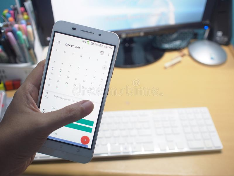 The smartphone with working desk. stock photo
