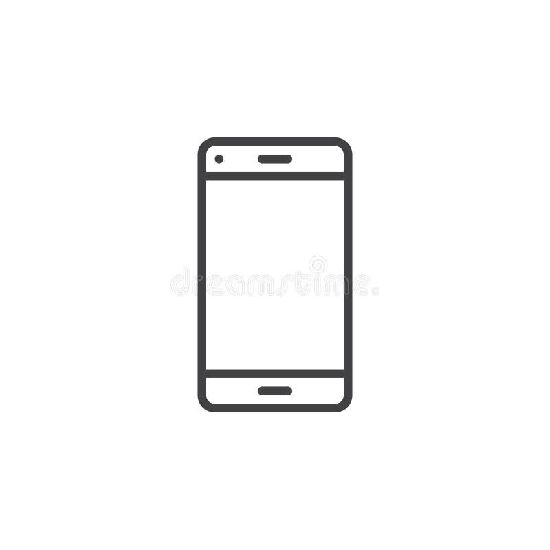 Smartphone wykłada ikonę, konturu loga wektorowa ilustracja, liniowy p ilustracji