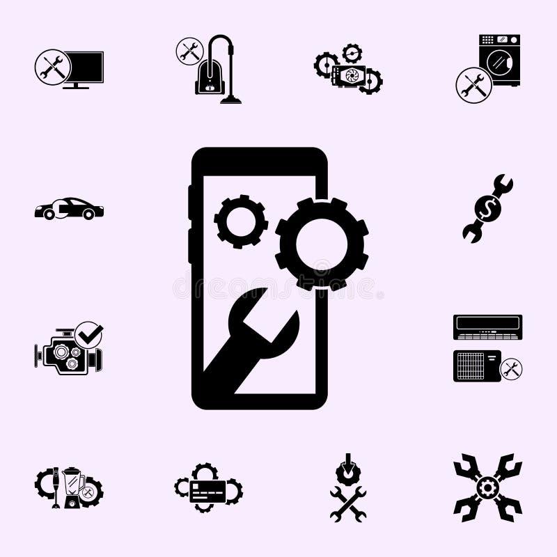 smartphone, wyrwanie, przygotowywa ikon? Remontowy ikony og?lnoludzki ustawiaj?cy dla sieci i wisz?cej ozdoby ilustracja wektor