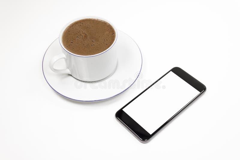 Smartphone y café fotografía de archivo