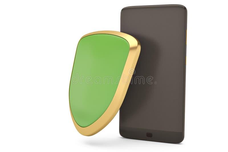 Smartphone y escudo en el concepto blanco de la seguridad ilustración 3D libre illustration