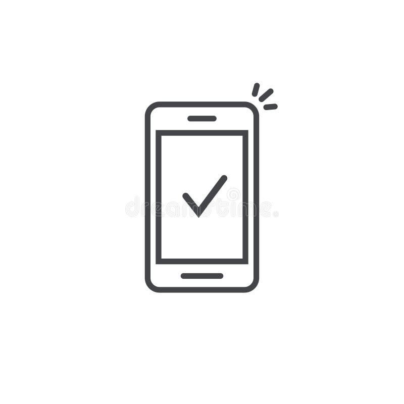 Smartphone y la marca de cotejo vector el icono, línea notificación aprobada de la señal del teléfono móvil del arte del esquema, ilustración del vector