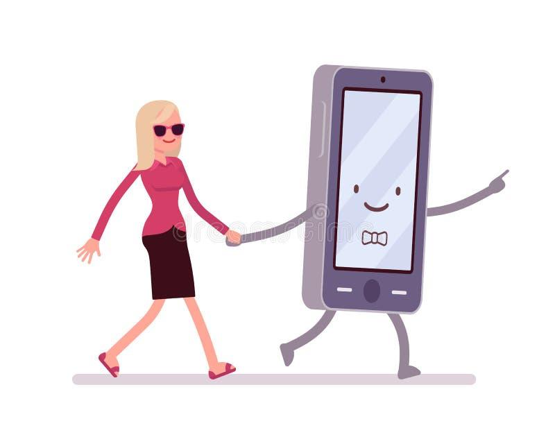 Smartphone y la mujer están caminando llevando a cabo una mano ilustración del vector
