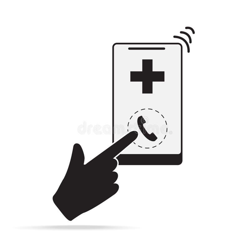 Smartphone y mano con el icono médico de la muestra Llamada de emergencia al icono del hospital stock de ilustración