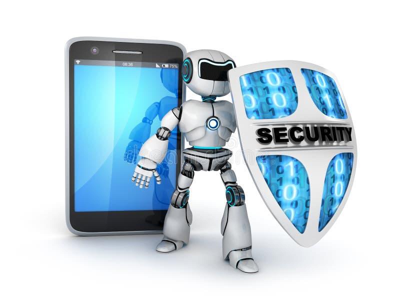 Smartphone y robot ilustración del vector