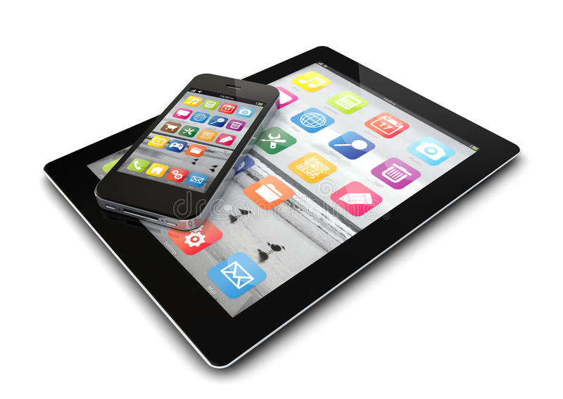 Smartphone y tableta stock de ilustración