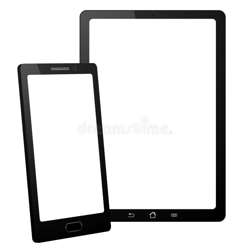 Smartphone y tableta en el fondo blanco Aislado con la pantalla táctil ilustración del vector
