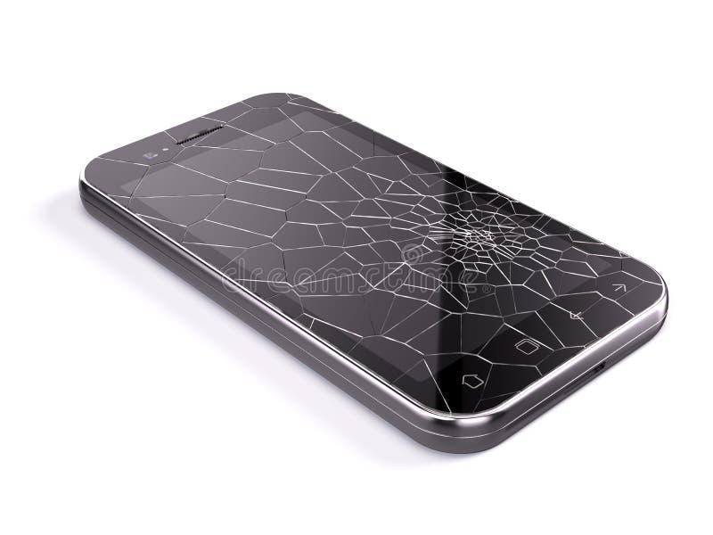 Smartphone z łamanym ekranem ilustracji