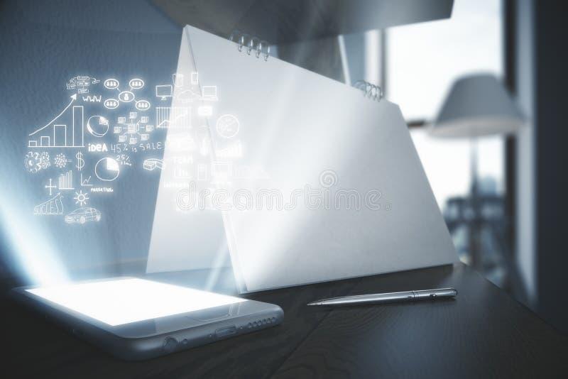 Smartphone z abstrakcjonistycznym biznesowym hologramem ilustracja wektor