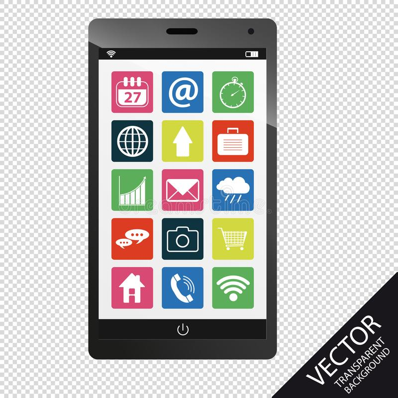 Smartphone Z App symbolami - Odizolowywającymi Na Przejrzystym tle ilustracji