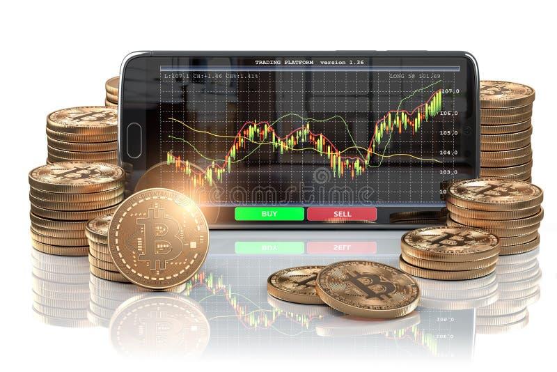 Smartphone z Bitcoin monetami Bitcoin cryptocurrency wymiany mobilna handlarska platforma ilustracja wektor