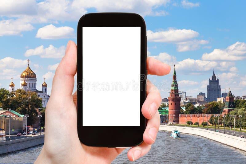 Smartphone z cięcia out Moskwa i ekranem obraz royalty free