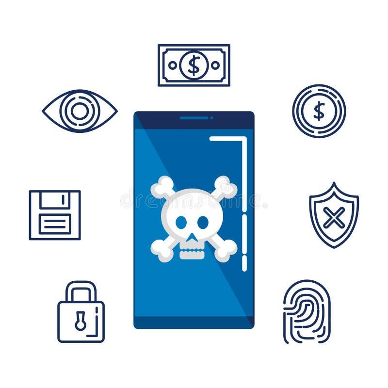 Smartphone z czaszki i setu ochrony ikonami royalty ilustracja