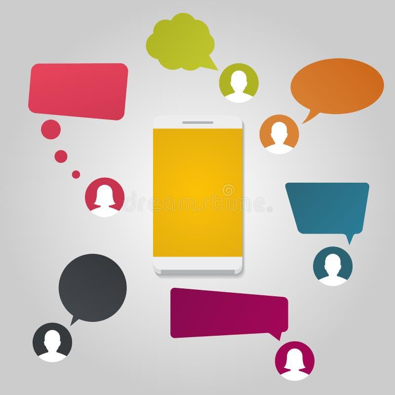 Smartphone z gadki wiadomości powiadomieniami ilustracji