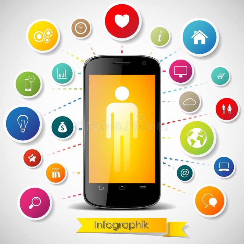 Smartphone z ikonami ilustracja wektor