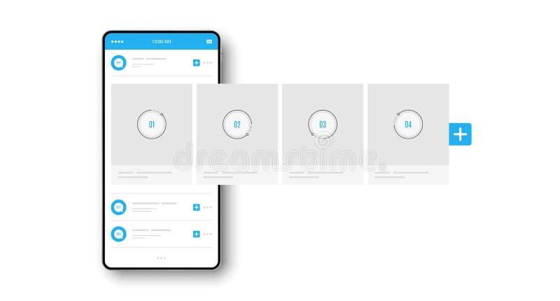 Smartphone z interfejsu carousel poczty sieci Ogólnospołecznymi reklamami wektor ilustracja wektor