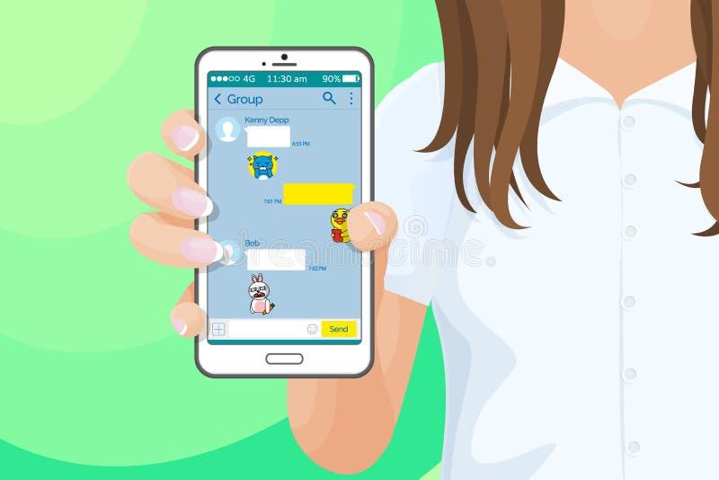 Smartphone z kakao rozmowy gonem w dziewczyny ręce ilustracja wektor