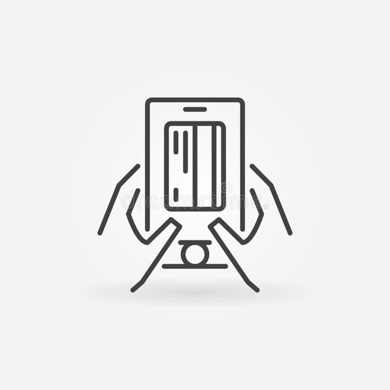 Smartphone z kartą kredytową w ręka konturu wektorowej ikonie royalty ilustracja