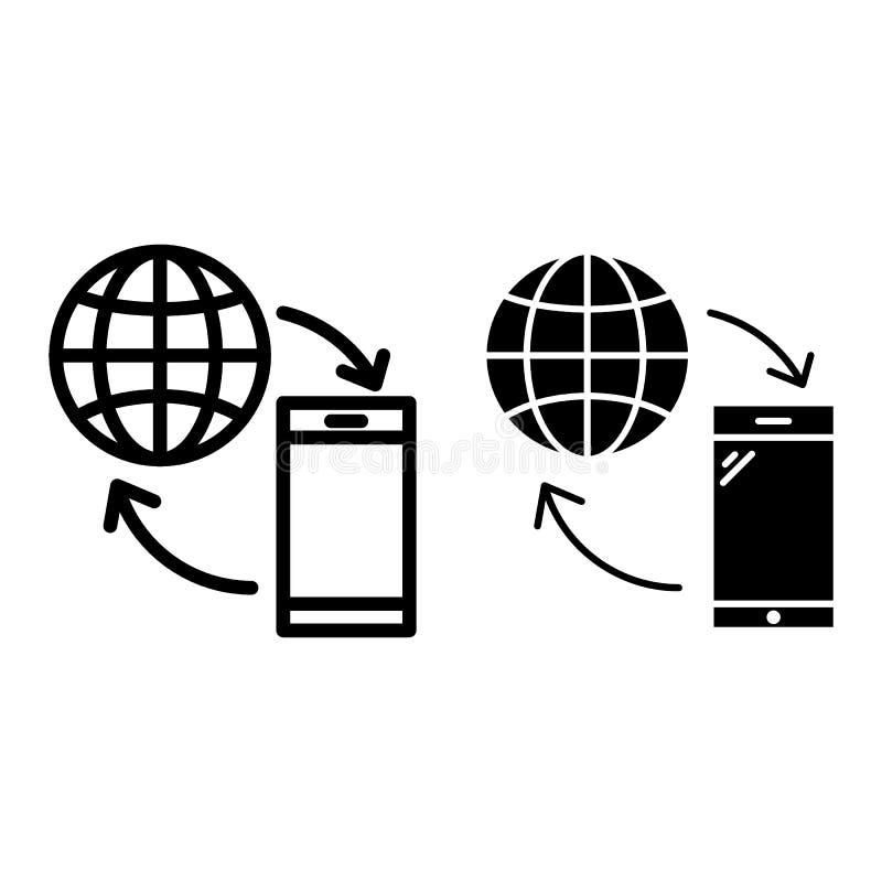 Smartphone z kuli ziemskiej linią i glif ikoną Dane wymiany wektorowa ilustracja odizolowywająca na bielu Komunikacyjny kontur ilustracja wektor