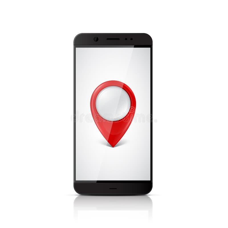 Smartphone z mapa pointerem na ekranie royalty ilustracja