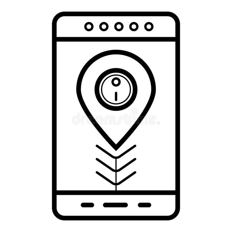 Smartphone z mapy nawigacji lokacją i app royalty ilustracja