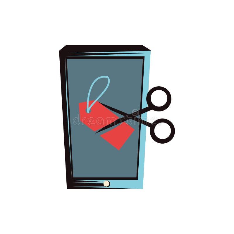 Smartphone z nożyce ikoną ilustracji
